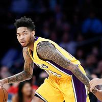 05 December 2016: Los Angeles Lakers forward Brandon Ingram (14) drives past Utah Jazz guard Dante Exum (11) during the Utah Jazz 107-101 victory over the Los Angeles Lakers, at the Staples Center, Los Angeles, California, USA.