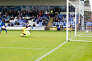 Macclesfield Town forward Arthur Gnahoua(not included in the picture) scores for Macclesfield to make it 1-0 during the EFL Sky Bet League 2 match between Macclesfield Town and Colchester United at Moss Rose, Macclesfield, United Kingdom on 28 September 2019.