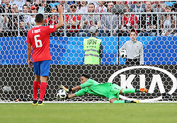 SAMARA, June 17, 2018  Costa Rica's goalkeeper Keylor Navas (R) saves the ball during a group E match between Costa Rica and Serbia at the 2018 FIFA World Cup in Samara, Russia, June 17, 2018. (Credit Image: © Ye Pingfan/Xinhua via ZUMA Wire)
