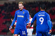 AFC Wimbledon midfielder Mitch Pinnock (11) and AFC Wimbledon forward Kwesi Appiah (9) during the The FA Cup match between Doncaster Rovers and AFC Wimbledon at the Keepmoat Stadium, Doncaster, England on 19 November 2019.