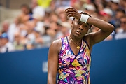Venus Williams during her loss to Karolina Plishkova. Photographed at the Billie Jean King National Tennis Center in Queens, NY September 5, 2016.  (Photo by Darren Carroll/USTA)