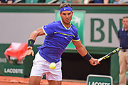 Rafael Nadal (ESP) during the preliminary rounds of the Roland Garros Tennis Open 2017 at Roland Garros Stadium, Paris, France on 2 June 2017. Photo by Jon Bromley.