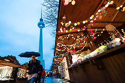 Berlin, Germany. 27th November, 2017. Christmas market opens at Alexanderplatz in Mitte Berlin,. This year concrete barriers have been installed at the entrances to prevent vehicle terror attacks following last year's attack in the city.