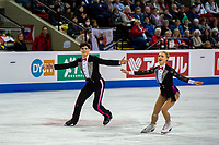 KELOWNA, BC - OCTOBER 25:  Canadian ice dancers Piper Gilles and Paul Poirier perform during rhythm dance at Skate Canada International at Prospera Place on October 25, 2019 in Kelowna, Canada. (Photo by Marissa Baecker/Shoot the Breeze)