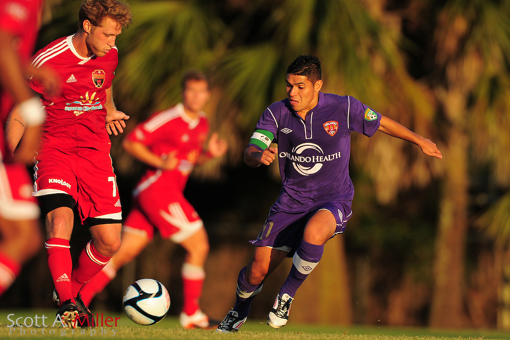 Orlando City's Johnathan Mendoza (11) in action during the Lions game against the Panama City Beach Pirates in their Premier Development League game at the Seminole Soccer Complex on May 19, 2012 in Sanford, Fla. ..©2012 Scott A. Miller.