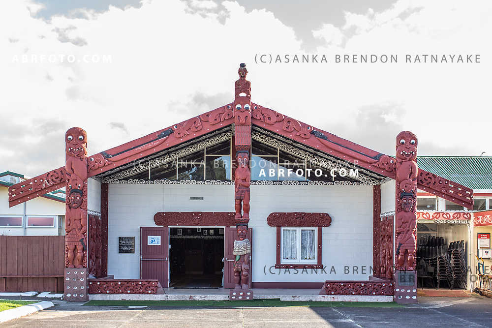'Poupou' or Maori woodcarvings at the entrance of the ceremonial hall of the Te Puea Marae in South Auckland on the 7th of June 2018. A Marae is a meeting place for the Maori community, in recent years the Te Puea Marae has assisted the homeless Maori community in the area as well as offered assistance with social services. Asanka Brendon Ratnayake for The New York Times.