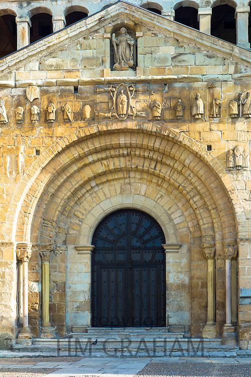 Doorway of Colegiata Santillana, St Juliana's Collegiate Church, in Santillana del Mar, Cantabria, Northern Spain
