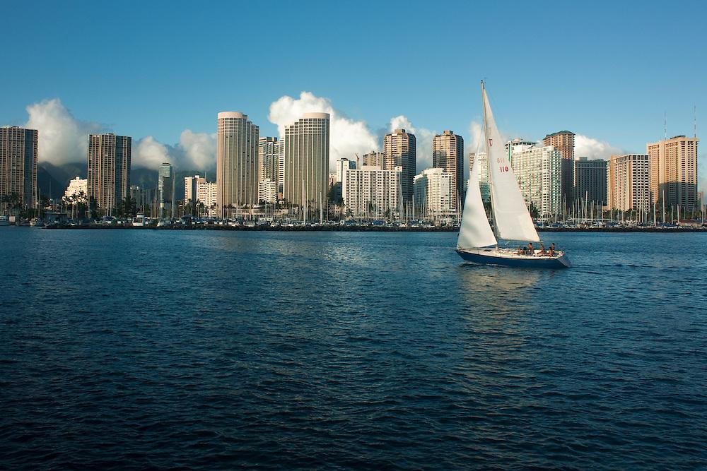 Sailboat off Waikiki Beach