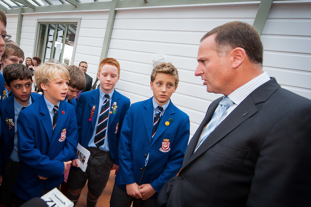 The Rt. Hon. John Key, Prime Minister  speaks with Wellesley College students at the entrance to the new library building immediately prior to the official opening ceremony begins . Wednesday 21st March 2012...Photo by Mark Tantrum | www.marktantrum.com