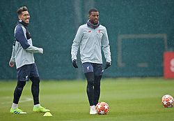 LIVERPOOL, ENGLAND - Tuesday, April 16, 2019: Liverpool's Georginio Wijnaldum and Roberto Firmino (L) during a training session at Melwood Training Ground ahead of the UEFA Champions League Quarter-Final 2nd Leg match between FC Porto and Liverpool FC. (Pic by Laura Malkin/Propaganda)