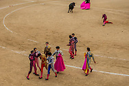 Bullfighter Lilian Ferrani, bottom third left, gets help by his mates after he was  tossed by a fighting bull during a bullfight at Las Ventas bullring in Madrid, Spain, Sunday, June 21, 2015.
