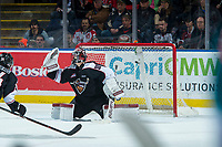 KELOWNA, CANADA - MARCH 7: David Tendeck #30 of the Vancouver Giants misses a second period save against the Kelowna Rockets  on March 7, 2018 at Prospera Place in Kelowna, British Columbia, Canada.  (Photo by Marissa Baecker/Shoot the Breeze)  *** Local Caption ***