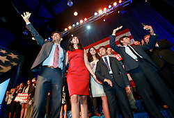 24 June 2015. Kenner, Louisiana.<br /> Louisiana Governor Bobby Jindal and his family celebrate on stage after Jindal announces his run for President of the United States during a political event at the Pontchartrain Center in Kenner, La.<br /> L/R; Bobby Jindal, Supriya, Selia, Slade and Shaan.<br /> Photo©; Charlie Varley/varleypix.com