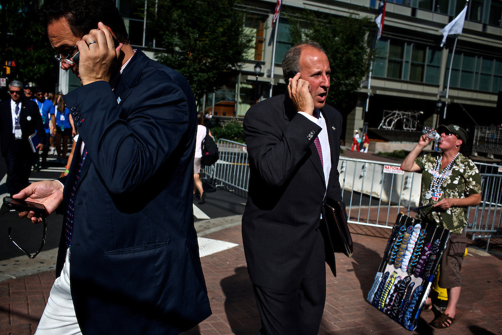 Attendees head toward the Time Warner Cable Arena in Charlotte, NC during the 2012 Democratic National Convention on Sept. 5, 2012.