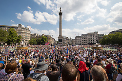© Licensed to London News Pictures. 13/07/2018. London, UK. Tens of thousands of demonstrators seen in Trafalgar Square, at the end of a march through central London to protest against the President of the United States, Donald Trump, and his ongoing four-day visit to the UK. The demonstration began at Portland Place and ended with a rally at Trafalgar Sqaure. Photo credit : Tom Nicholson/LNP