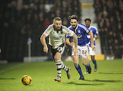 Fuham midfielder Jamie O'Hara battling for the ball with Ipswich midfielder Jonathan Douglas during the Sky Bet Championship match between Fulham and Ipswich Town at Craven Cottage, London, England on 15 December 2015. Photo by Matthew Redman.