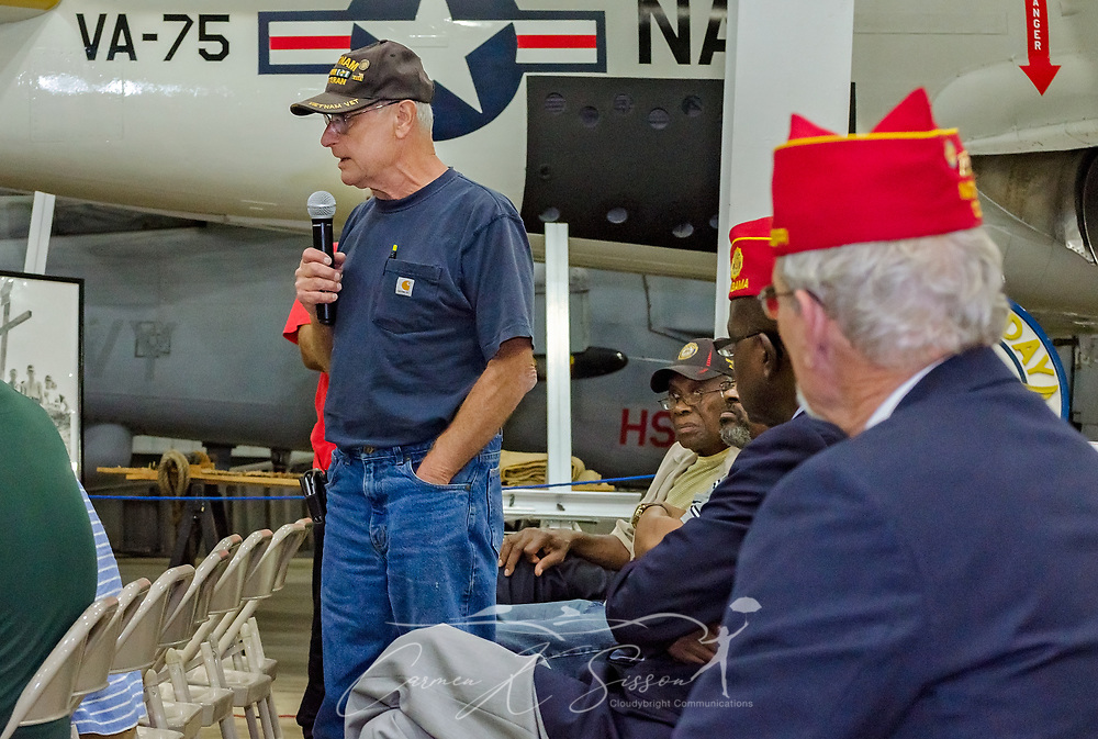 A veteran shares stories of his VA experiences during the Mobile SWS Town Hall at USS Alabama Battleship Memorial Park in Mobile, Ala., on Friday, April 3, 2017. (Photo by Carmen K. Sisson/Cloudybright)