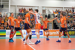 08-09-2018 NED: Netherlands - Argentina, Ede<br /> Second match of Gelderland Cup / Gijs Jorna #7 of Netherlands, Tim Smit #12 of Netherlands, Wessel Keemink #2 of Netherlands, Wouter ter Maat #16 of Netherlands, Jeroen Rauwerdink #10 of Netherlands, Just Dronkers #19 of Netherlands