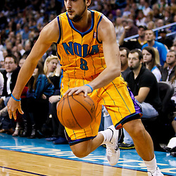 December 10, 2010; New Orleans, LA, USA; New Orleans Hornets shooting guard Marco Belinelli (8) against the Oklahoma City Thunder during the second half at the New Orleans Arena.  The Thunder defeated the Hornets 97-92. Mandatory Credit: Derick E. Hingle-US PRESSWIRE
