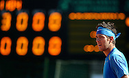 Argentina's tennis player Juan Martin Del Potro gestures during a 2012 Davis Cup quarterfinal match against Croatia's Marin Cilic, at Parque Roca stadium in Buenos Aires on April 8, 2012.  Del Potro won 6-1, 6-2 and 6-1 and gave the series to Argentina.  (PHOTOXPHOTO/Alejandro PAGNI).