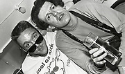 808 state member drinking and partying, Piccadilly club, Manchester, 1989.