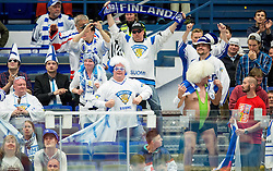 Supporters of Finland during Ice Hockey match between Finland and Belarus at Day 11 in Group B of 2015 IIHF World Championship, on May 11, 2015 in CEZ Arena, Ostrava, Czech Republic. Photo by Vid Ponikvar / Sportida