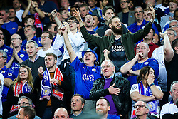 Leicester City fans celebrate after Kasper Schmeichel scores a goal to make it 2-1 - Rogan Thomson/JMP - 22/02/2017 - FOOTBALL - Estadio Ramon Sanchez Pizjuan - Seville, Spain - Sevilla FC v Leicester City - UEFA Champions League Round of 16, 1st Leg.