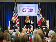 16 JANUARY 2020 - DES MOINES, IOWA: KAYLEIGH MCENANY, national press secretary for the Donald Trump 2020 presidential campaign, LARA TRUMP, wife of Eric Trump and campaign advisor to President Donald Trump, her father-in-law, and MERCEDES SCHLAPP, former White House Director of Strategic Communications and now a senior member of Trump's campaign team, speak about the importance of reelecting Pres. Trump at the Women for Trump rally in Airport Holiday Inn in Des Moines. About 200 women attended the event, which featured Lara Trump, Mercedes Schlapp, and Kayleigh McEnany, surrogates on the campaign trail for President Donald Trump.         PHOTO BY JACK KURTZ