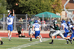 12 October 2013:  Rob Gallik passes when approached by Zach Bates as Nate Lawler attempts a block during an NCAA division 3 football game between the North Park vikings and the Illinois Wesleyan Titans in Tucci Stadium on Wilder Field, Bloomington IL