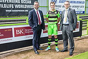 BK advert with Forest Green Rovers Christian Doidge(9) during the Forest Green Rovers Photocall at the New Lawn, Forest Green, United Kingdom on 31 July 2017. Photo by Shane Healey.