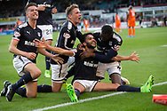 August 9th 2017, Dens Park, Dundee, Scotland; Scottish League Cup Second Round; Dundee versus Dundee United; Dundee's Faissal El Bakhtaoui celebrates after scoring for 1-0