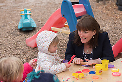 Scottish Children's minister Maree Todd visited Highland Fling nursery in Portobello and met with some male practitioners on a day when more funding was announced to encourage men into childcare jobs. Maree Todd with some of the kids © Jon Davey/ EEm