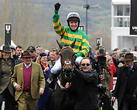 National Hunt Horse Racing - 2020 Cheltenham Festival - Tuesday, Day One (Champion Day)<br /> <br /> Winner, Barry Geraghty on Epatante enters the winners enclosure, in the 15.30 Unibet Champion hurdle challenge trophy ( Class 1), at Cheltenham Racecourse.<br /> <br /> COLORSPORT/ANDREW COWIE