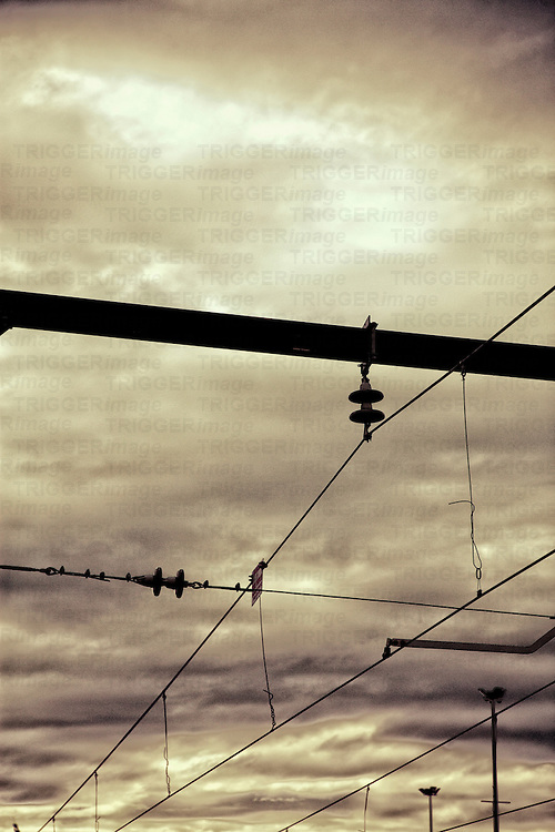Dramatic image of electrical power lines
