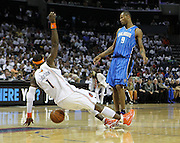 CHARLOTTE - APRIL 24:  Guard Stephen Jackson #1 of the Charlotte Bobcats draws an offensive foul on forward Rashard Lewis #9 of the Orlando Magic during Game Three of the Eastern Conference Quarterfinals during the 2010 NBA Playoffs at Time Warner Cable Arena on April 24, 2010 in Charlotte, North Carolina. NOTE TO USER: User expressly acknowledges and agrees that, by downloading and/or using this photograph, user is consenting to the terms and conditions of the Getty Images License Agreement.  The Magic beat the Bobcats 90-86.  (Photo by Mike Zarrilli/Getty Images) *** Local Caption *** Stephen Jackson; Rashard Lewis