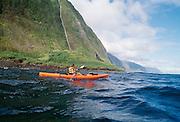Kayaking North Shore, Molokai, Hawaii.
