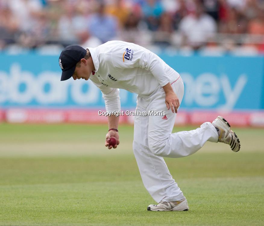Substitute fielder, Scott Elstone, catches Suresh Raina off Tim Bresnan during the second npower Test Match between England and India at Trent Bridge, Nottingham.  Photo: Graham Morris (Tel: +44(0)20 8969 4192 Email: sales@cricketpix.com) 01/08/11