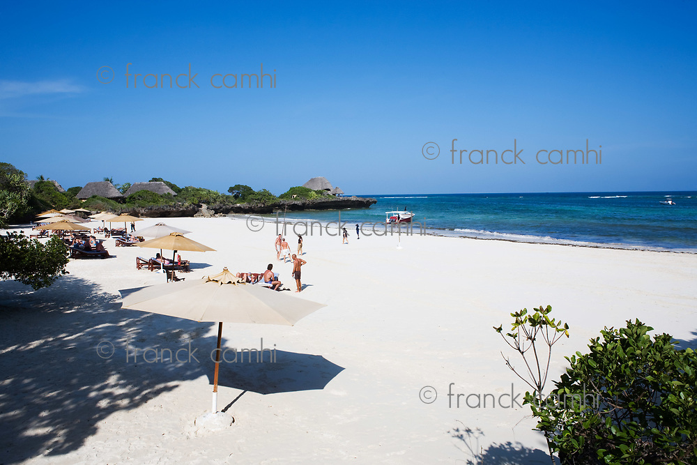 beautiful white sand beach in the beautiful chale island near mombassa kenya
