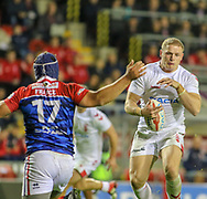 George Burgess of England and Valentin Yess of France during the International Friendly match at Leigh Sports Village, Leigh<br /> Picture by Steve McCormick/Focus Images Ltd 07545 862647<br /> 17/10/2018