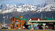 Alaska. Seward Harbor - shop, boat tour offices and Harbormaster Office.