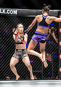 ISTELA NUNES of Brazil (R) wins against Japanese fighter MEI YAMAGUCI. One Championship, Heroes of the World mixed martial arts tournament.One Championship, Heroes of the World mixed martial arts tournament.