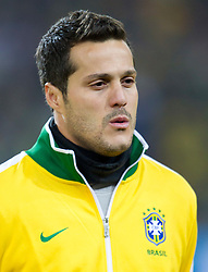 Julio Cesar of Brazil listening to the national anthem during the 2010 FIFA World Cup South Africa Group G Second Round match between Brazil and République de Côte d'Ivoire on June 20, 2010 at Soccer City Stadium in Soweto, suburban Johannesburg, South Africa.  Brazil defeated Ivory Coast 3-1. (Photo by Vid Ponikvar / Sportida)