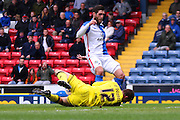 Danny Graham collides with Bristol City goalkeeper, Richard O'Donnell (12) during the Sky Bet Championship match between Blackburn Rovers and Bristol City at Ewood Park, Blackburn, England on 23 April 2016. Photo by Pete Burns.