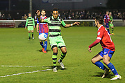 Forest Green Rovers Keanu Marsh-Brown(7) controls the ball during the Vanarama National League first leg play off match between Dagenham and Redbridge and Forest Green Rovers at the London Borough of Barking and Dagenham Stadium, London, England on 4 May 2017. Photo by Shane Healey.