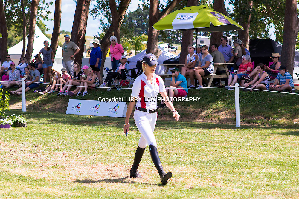 NZL-Katie Laurie walks the World Cup Course: 2015 NZL-IMAKE Showjumping Waitemata World Cup - Woodhill Sands (Sunday 11 January) CREDIT: Libby Law/www.photosport.co.nz