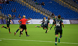ASTANA, KAZAKHSTAN - Sunday, September 17, 2017: Wales' Jessica Fishlock celebrates scoring the only goal to seal a 1-0 victory during the FIFA Women's World Cup 2019 Qualifying Round Group 1 match between Kazakhstan and Wales at the Astana Arena. (Pic by David Rawcliffe/Propaganda)