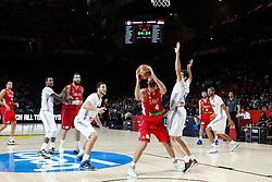 12.09.2014, City Arena, Madrid, ESP, FIBA WM, Frankreich vs Serbien, Halbfinale, im Bild France´s Heurtel (R) and Serbia´s Teodosic // during FIBA Basketball World Cup Spain 2014 semifinal match between France and Serbia at the City Arena in Madrid, Spain on 2014/09/12. EXPA Pictures © 2014, PhotoCredit: EXPA/ Alterphotos/ Victor Blanco<br /> <br /> *****ATTENTION - OUT of ESP, SUI*****