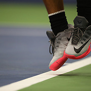 2017 U.S. Open Tennis Tournament - DAY TWO. The feet of Rafael Nadal of Spain serving against Dusan Lajovic of Serbia during the Men's Singles round one match at the US Open Tennis Tournament at the USTA Billie Jean King National Tennis Center on August 29, 2017 in Flushing, Queens, New York City.  (Photo by Tim Clayton/Corbis via Getty Images)