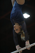 Charlie Fellows, United Kingdom, competes uneven bars during the Arthur Gander Memorial,  Morges, Switzerland on 1 November 2017. Photo by Myriam Cawston.