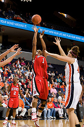 N.C. State forward Khadijah Whittington (1) shoots against UVA.  The Virginia Cavaliers faced NC State Wolfpack women's basketball team at the John Paul Jones Arena in Charlottesville, VA on February 1, 2008.